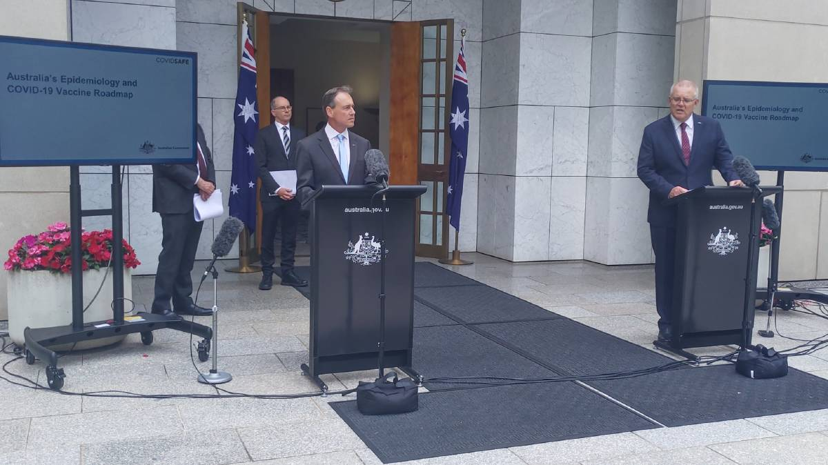 Health Minister Greg Hunt and Prime Minister Scott Morrison make the announcement on Thursday. Picture: Katie Burgess