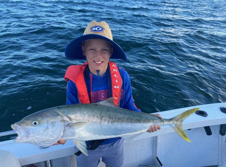 FISH OF THE WEEK: Twelve-year-old Jye Morton wins a $45 voucher courtesy of Sandgate Tackle Power for this 92cm kingfish hooked in Lake Macquarie last weekend.