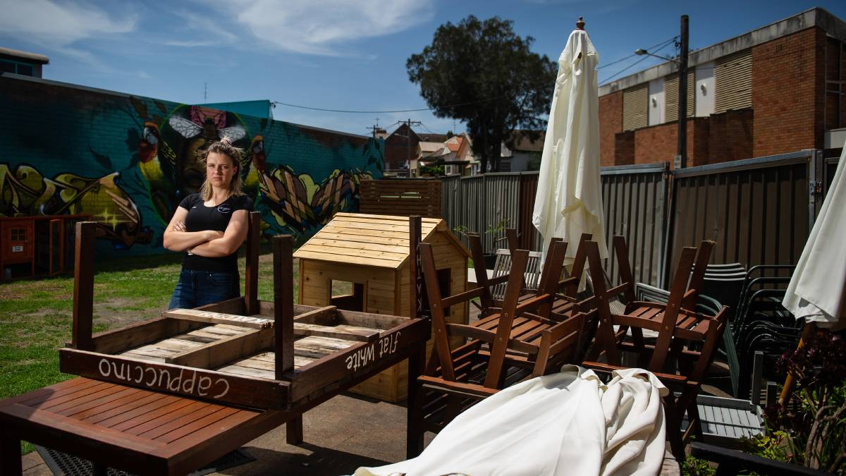 Onyx Espresso Bar owner Leya Aboltins in the courtyard council ordered her to stop using as a dining space as it was not permitted in her DA. Picture: Marina Neil