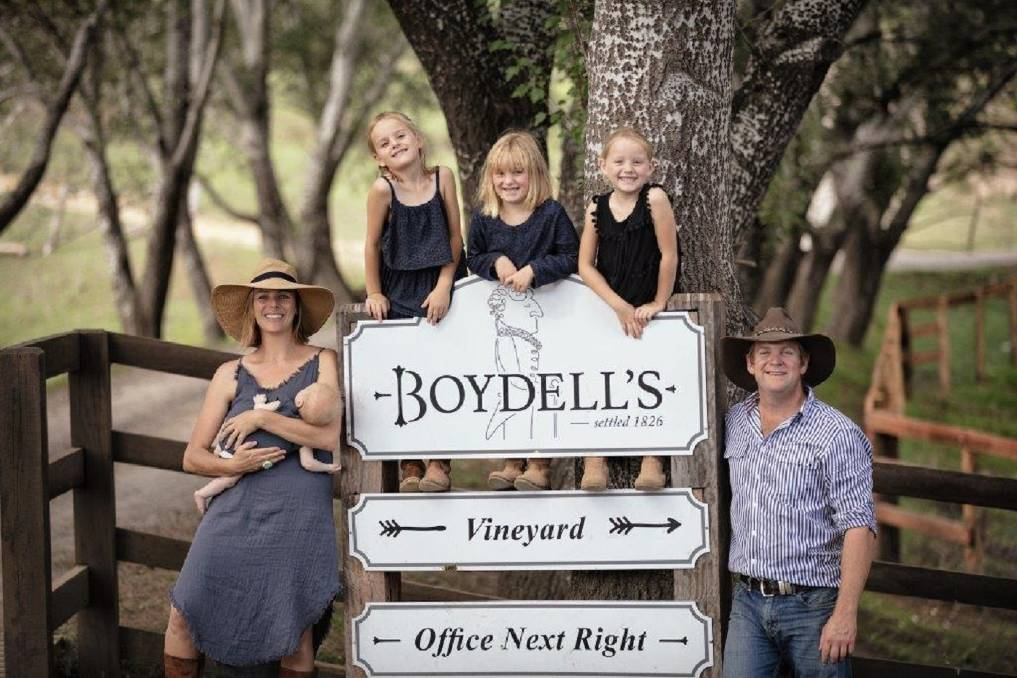 BOUTIQUE: Jane and Dan Maroulis at Boydell's vineyard with their daughters Josephine, Winnie, Tina and Maggie.