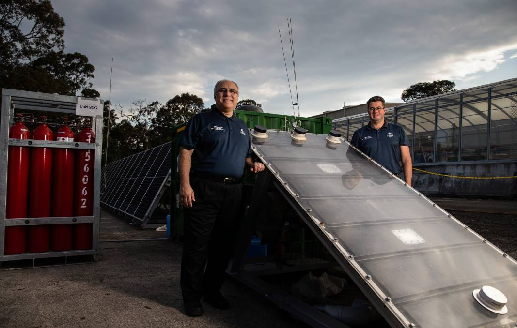 ADVANCED: University of Newcastle is engaged in groundbreaking renewable hydrogen research and the Hunter has green aluminium and steel industries. Pictured is Professor Behdad Moghtaderi and Dr Andrew Maddocks with their 'hydro harvester'.