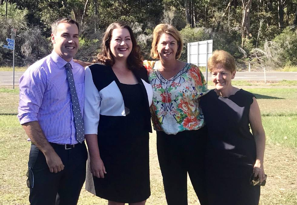 PROMISE: Liberal candidate Jaimie Abbott, Roads Minister Melinda Pavey and Catherine Cusack with Port Stephens mayor Ryan Palmer at the Fingal Bay link road announcement on March 5.