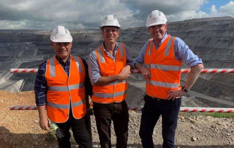 HIGH VISIBILITY: John Barilaro, David Layzell and Dominic Perrottet at Ravensworth mine on Thursday.