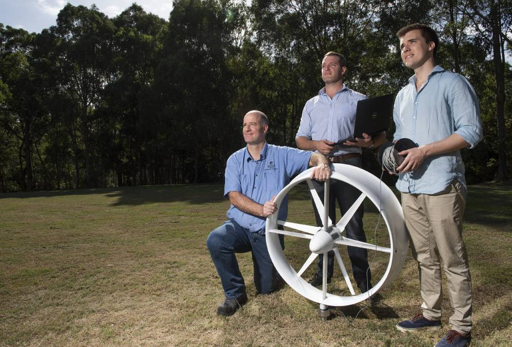 Innovators: University of Newcastle PhD research engineers Dr Joss Kesby, Dr Sam Evans and James Bradley created the turbine.