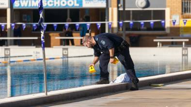 A police forensics officer at Maitland Aquatic Centre on Friday afternoon.