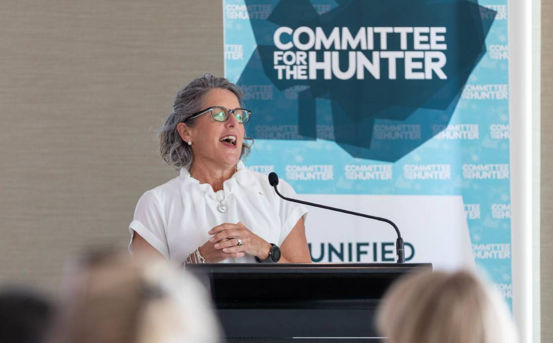 Optimistic: Infrastructure Australia chief executive Romilly Madew speaking in Newcastle on Friday. Picture: Oasis Media