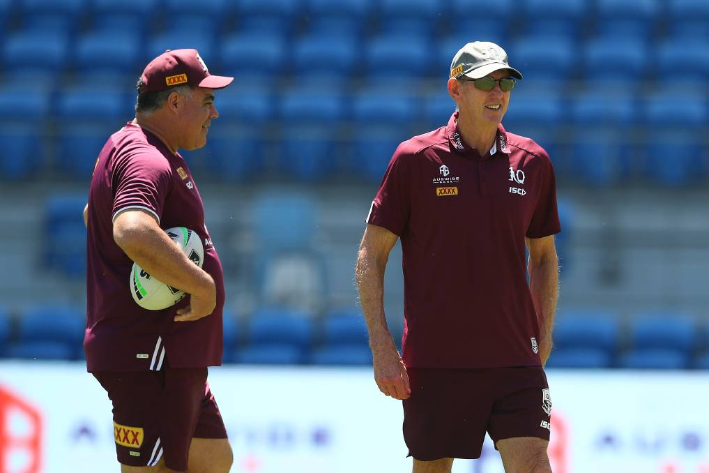 Queensland coach Wayne Bennett (right) and assistant Mal Meninga plan the underdog Maroons' hopes for a State of Origin upset. Picture: GETTY IMAGES