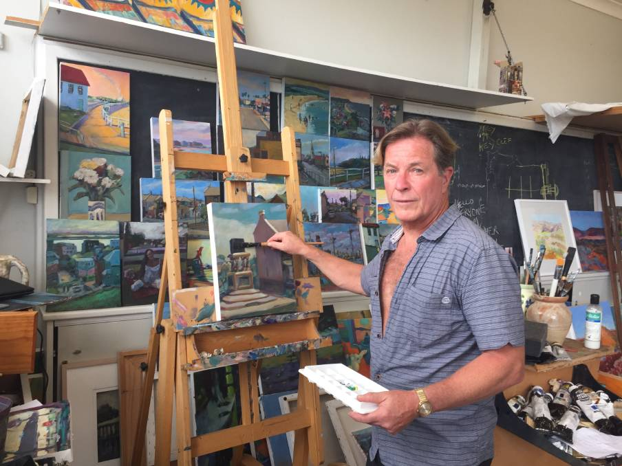 MAKING ART: Andrew Finnie at work in his Newcastle Community Arts Centre studio.