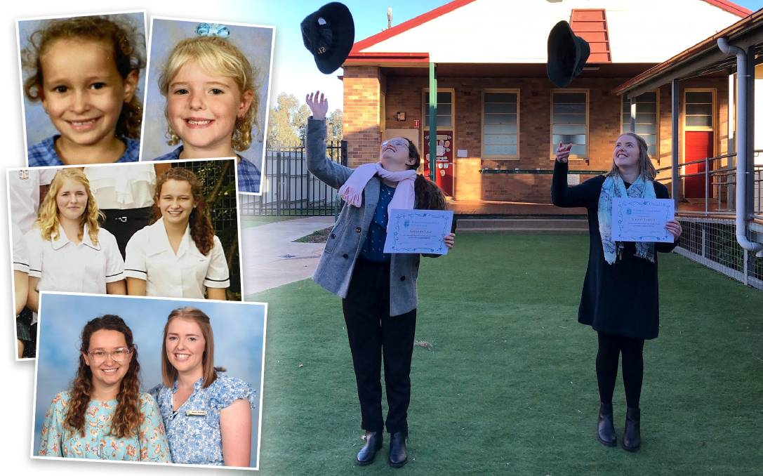 Friends forever: Sammie Love (left) and Naomi Rodwell (right) in the main picture at a ceremony their new workplace held for them in place of their postponed university graduation. They are pictured on the left as students at St Joseph's Primary East Maitland and All Saints' College Maitland and as teachers at St Joseph's Primary Merriwa.
