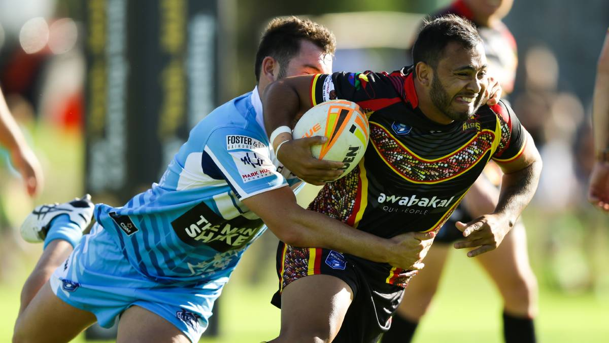 IMPACT: Cessnock recruit Ngangarra Barker playing Newcastle RL Indigenous All Stars last year. Picture: Jonathan Carroll