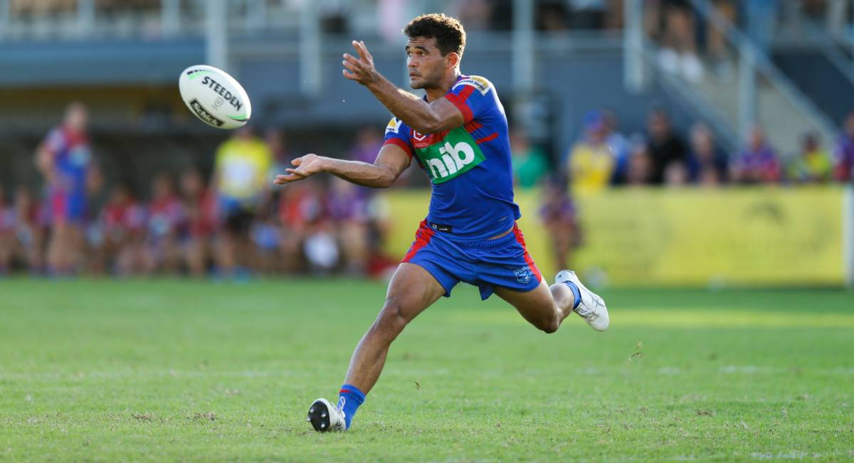 CHANCE: McKenzie Baker played fullback for the Knights in a pre-season trial against Newcastle premiers the Goannas at Cessnock Sportsground on Saturday. Picture: Jonathan Carroll