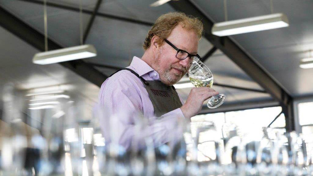 TASTER: International American judge Chuck Hayward busy at the Hunter Wine Show judging at Singleton. The judges awarded 46 gold medals. Picture: Chris Elfes