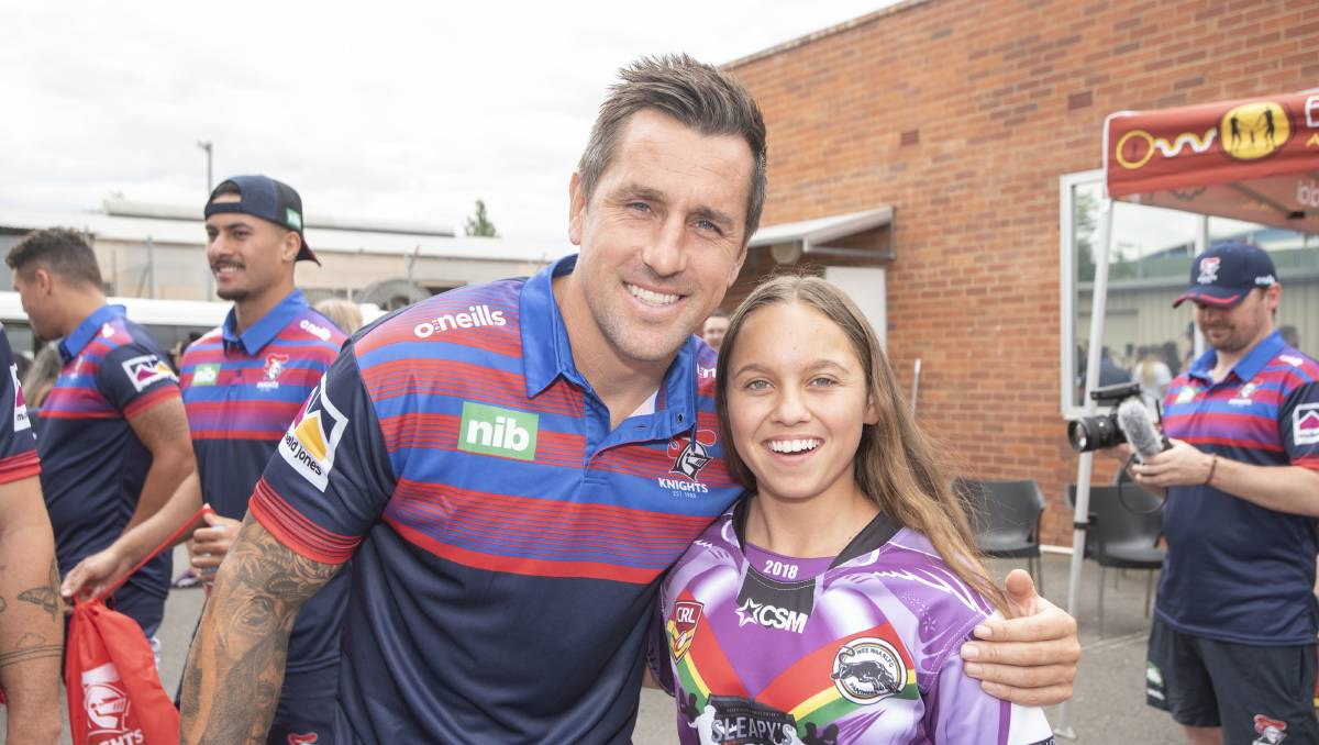 Budding NRL players stoked with Knights visit