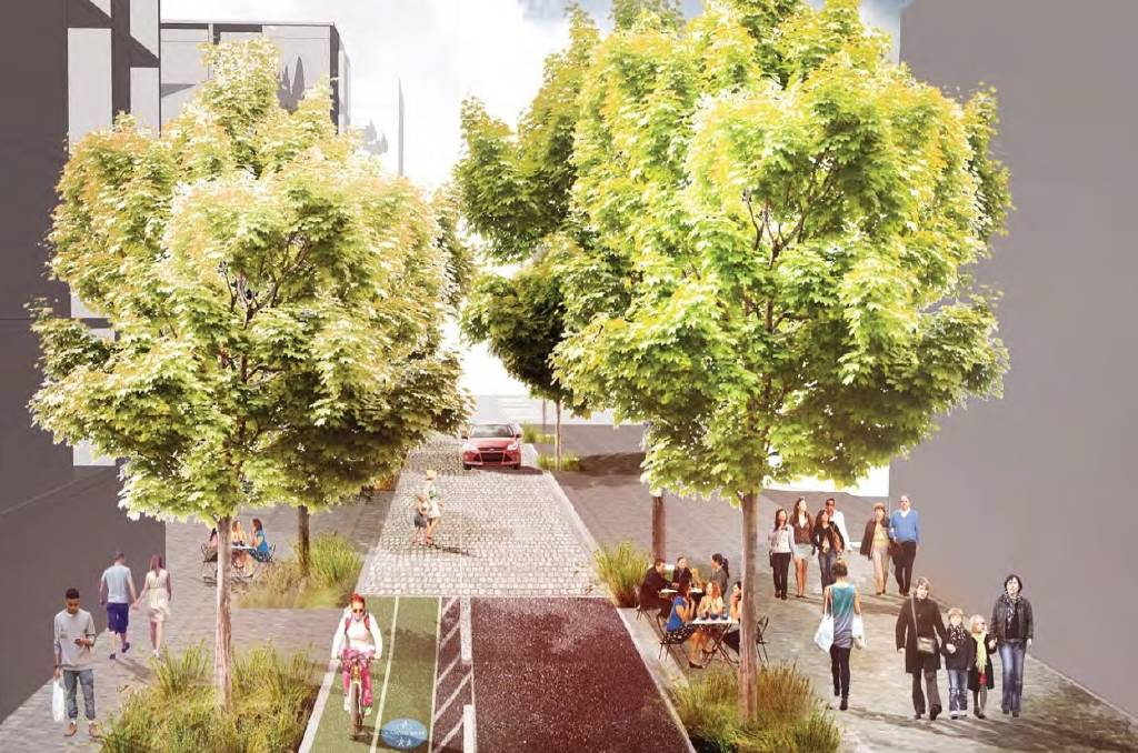 BEAUTIFICATION: An artist's impression of the upgraded road and streetscape in Hunter Street Mall.