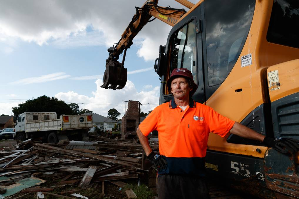 STAYING PUT: Allan Robinson back on a demolition site on Wednesday after the tense council meeting the night prior. Picture: Max Mason-Hubers
