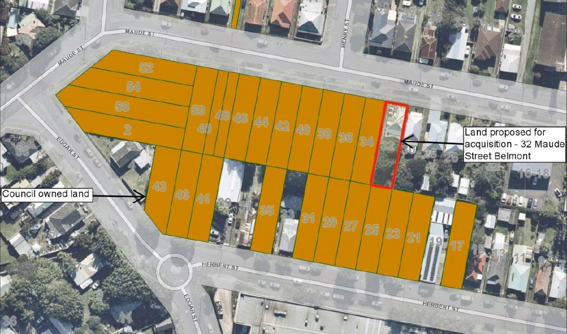 PLAN: The properties council owns, highlighted orange, and the property endorsed for purchase, marked in red. The council wants to develop the majority of the block.