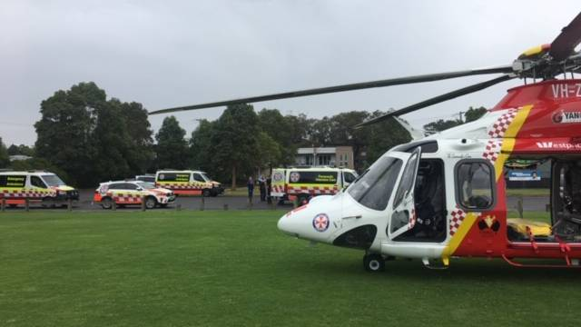 A boy, 12, has been flown to hospital after he was pulled from a pool at Wyong. Picture: Westpac Rescue Helicopter Service.