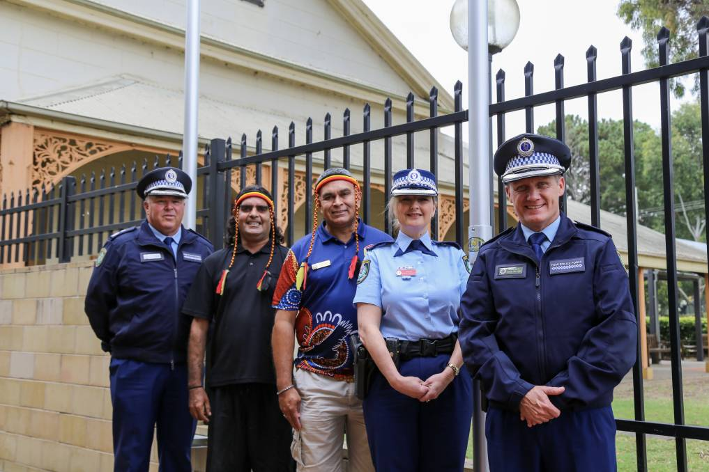 UNITED: Deputy Commissioner Gary Worboys, Maurice Perry, Dean French, Acting Supt Kylie Phillips, Acting Assistant Commissioner Northern Region Chad Gillies at Raymond Terrace Police Station on Tuesday. Picture: Ellie-Marie Watts