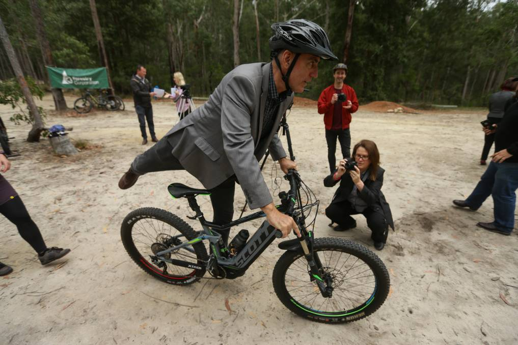 State MP for Lake Macquarie Greg Piper at the Awaba Mountain Bike Park. Picture: Jonathan Carroll