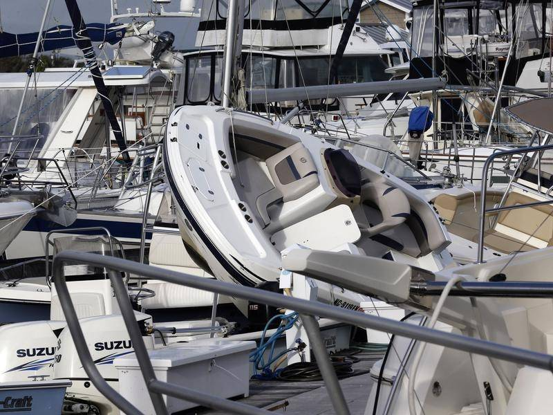 Boats were piled up on top of each other as Hurricane Isaias hit the US state of North Carolina.