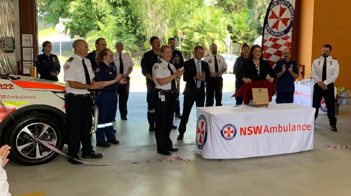 NSW Ambulance staff gather as the plaque is unveiled at Birmingham Gardens on Tuesday.