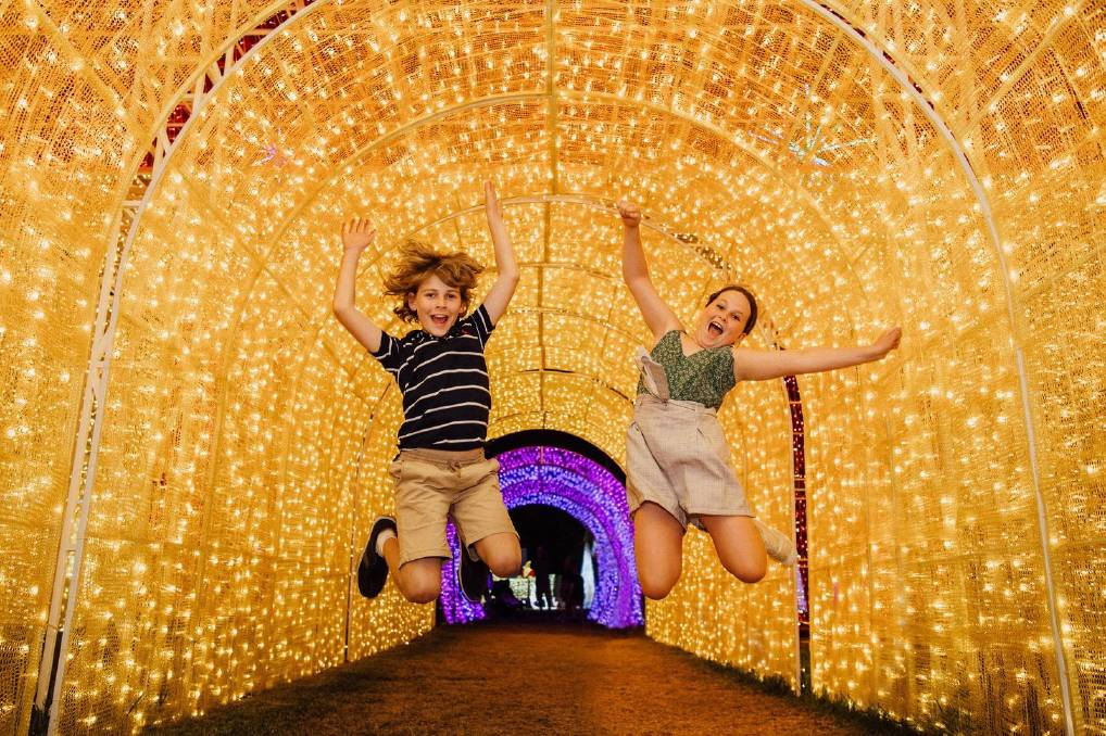 JUMPING FOR JOY: The Christmas Lights Spectacular boasts more than three million lights across a number of walk-through exhibits and interactive attractions, with a fireworks display planned for New Years Eve.