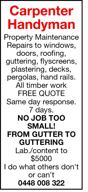 Carpenter  Handyman  Property Maintenance Repairs to windows,